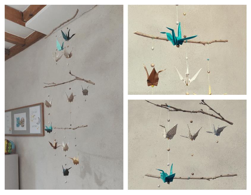 papier origami recycler guirlande grue mobile enfant