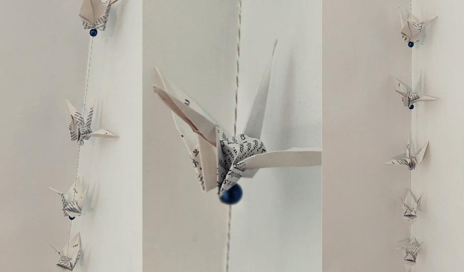 guirlande papier origami grue recup zero dechet recyclage